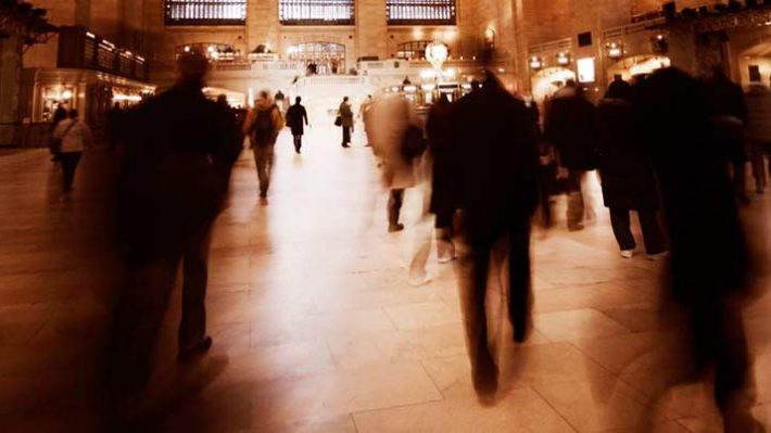 Blurred people walking in Grand Central Terminal