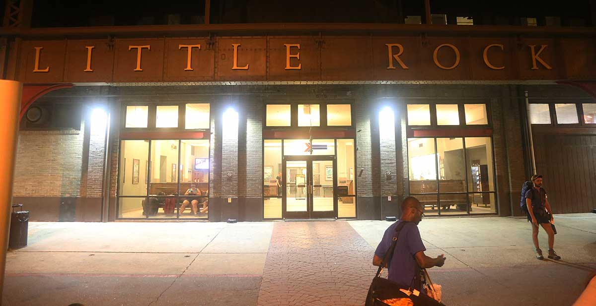 Little Rock Union Station Amtrak Depot at night with passengers waiting