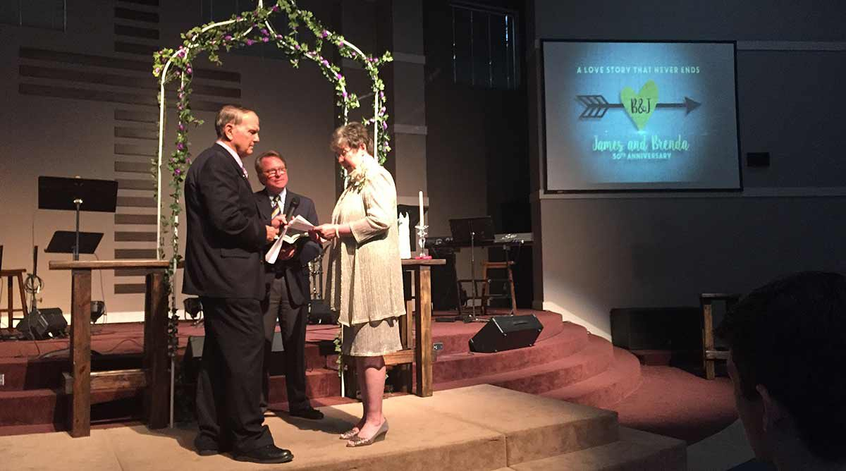 James and Brenda renewing vows at 50th wedding anniversary