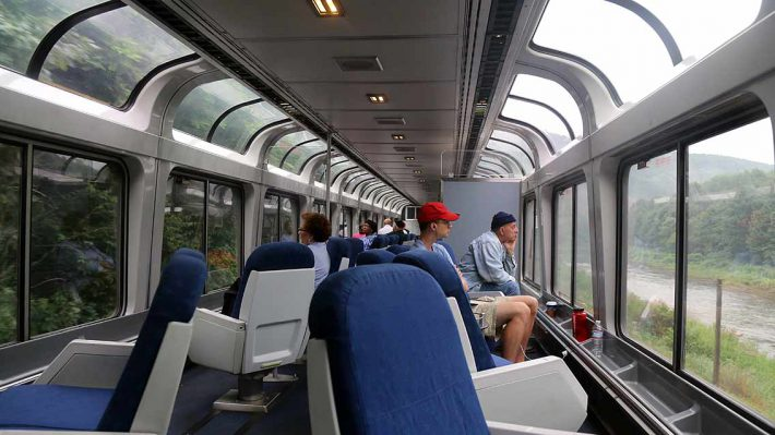 Amtrak Capitol Limited Sightseer Lounge interior in western Pennsylvania