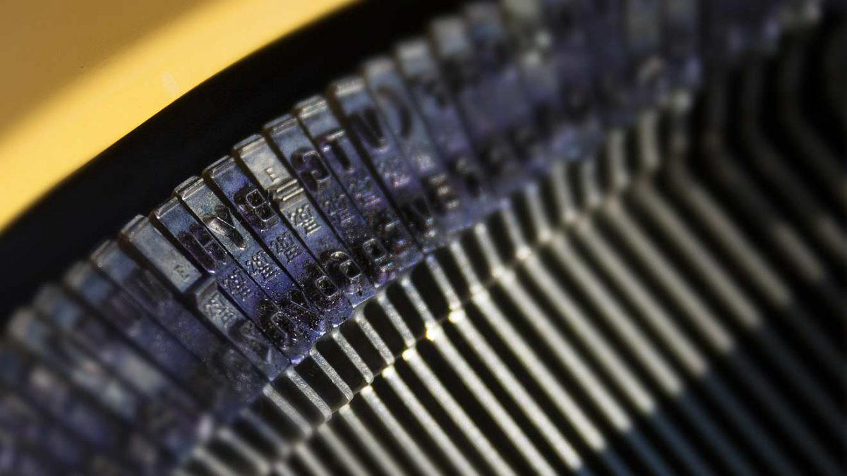 Closeup of typewriter hammers