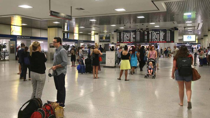 Penn Station in New York, the Amtrak Concourse, with people coming and going