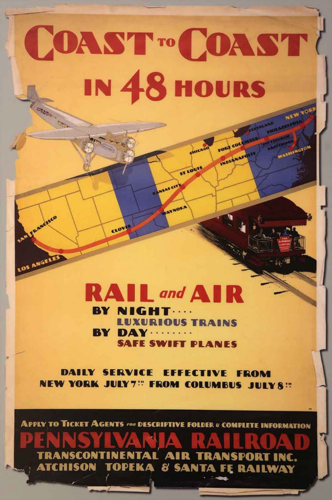 Poster map showing combined train - plane route across the US in 1929