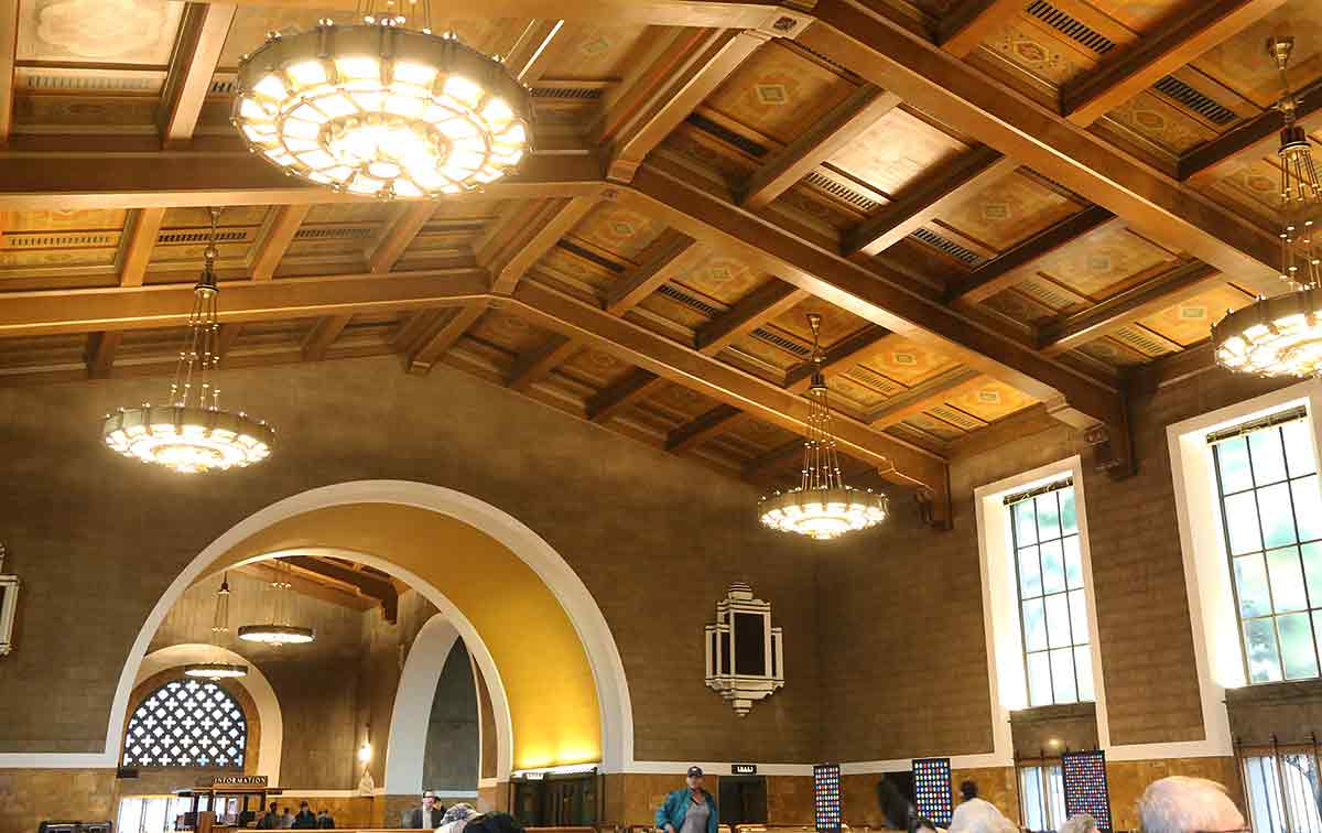 Los Angeles Union Station main waiting room with ornate ceiling