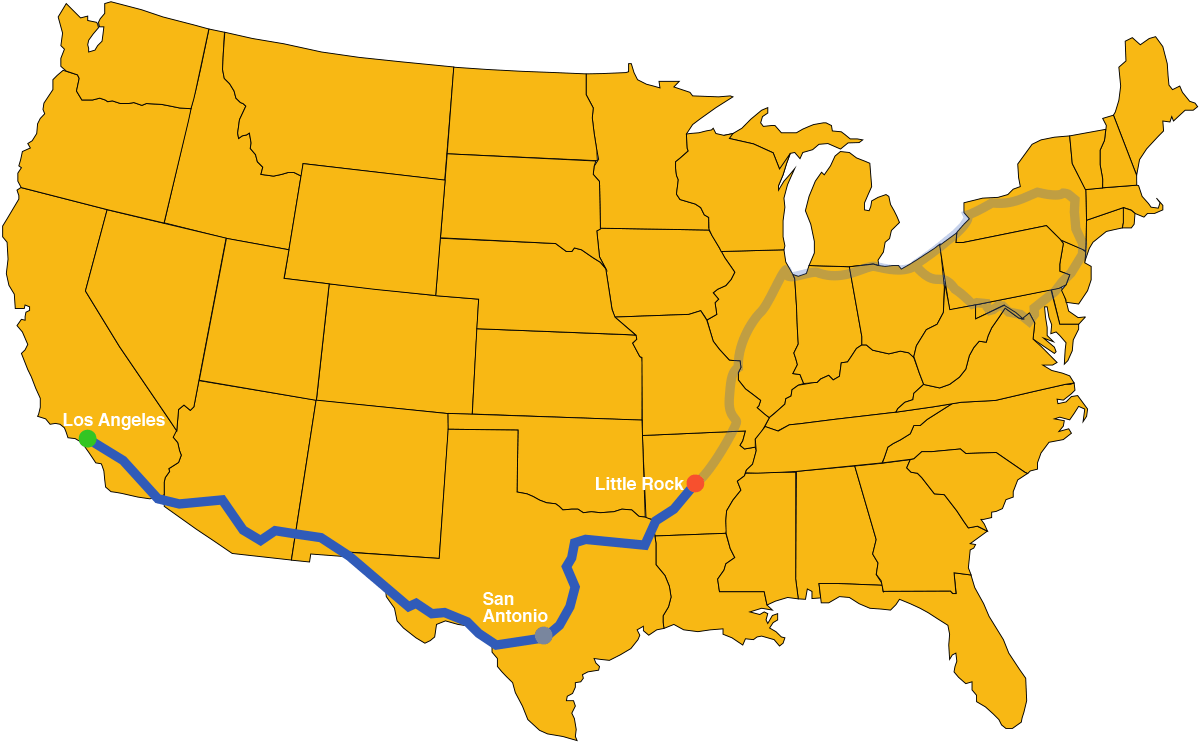 US map showing the route from Little Rock to Los Angeles via San Antonio