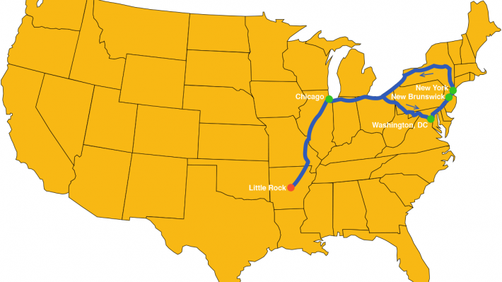 US map with route of my Amtrak adventure marked