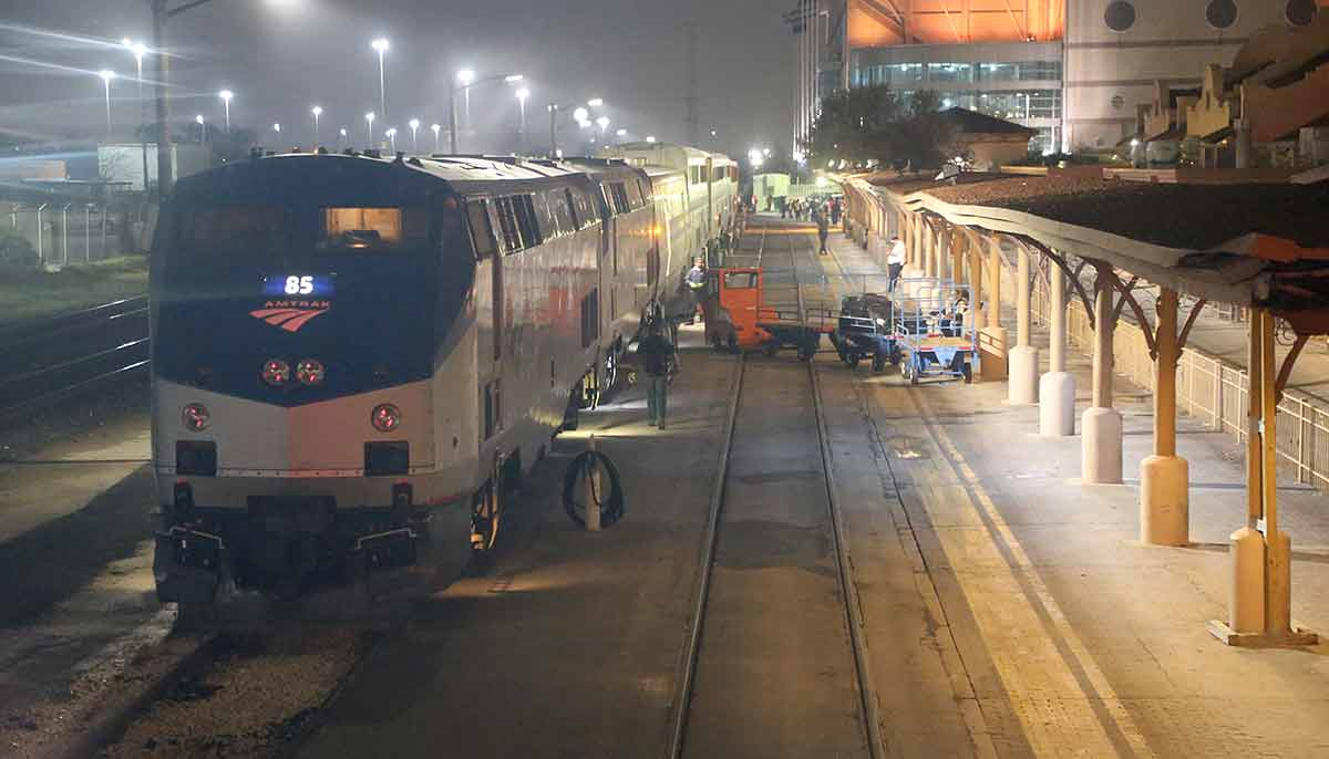 Amtrak's The Sunset Limited being serviced at San Antonio