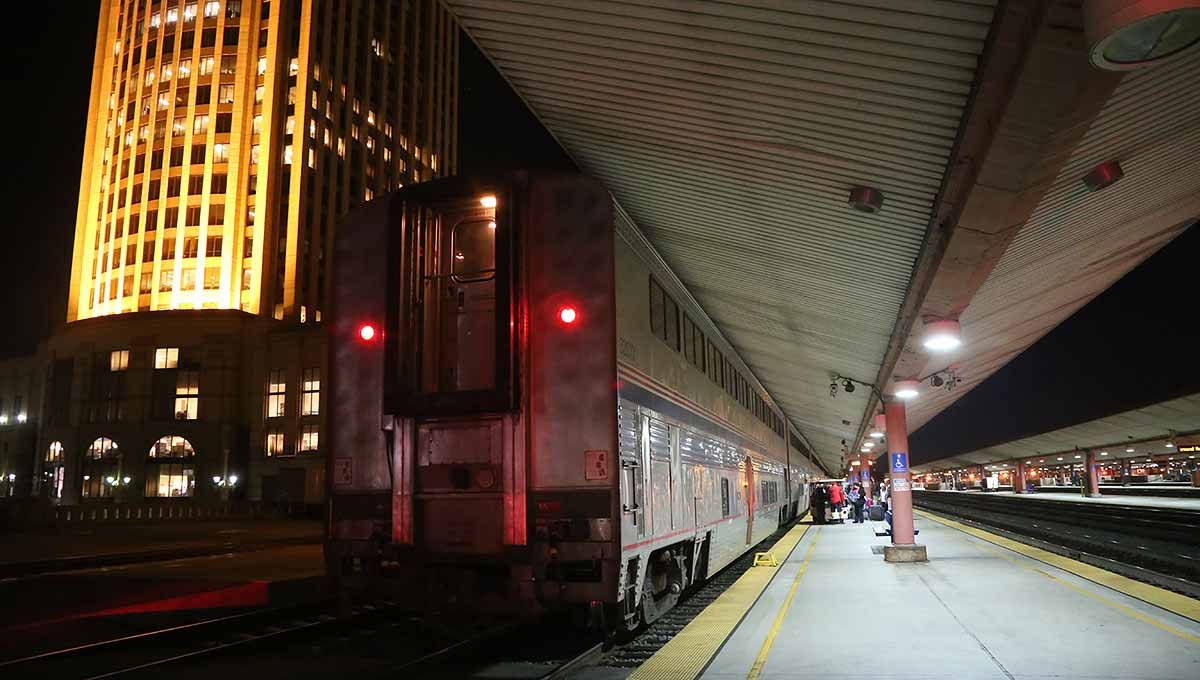 The tail end of the Sunset Limited at Los Angeles Union Station in early morning dark