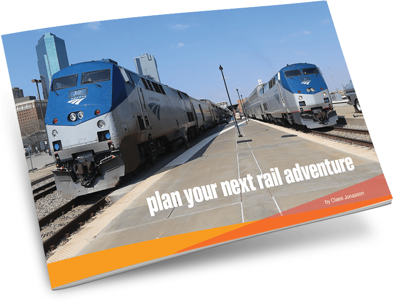 Plan Your Next Rail Adventure ebook cover with 2 Amtrak trains in station