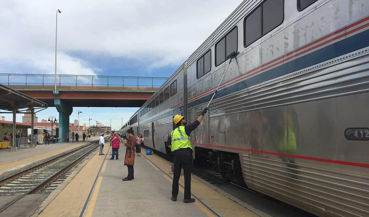 Albuquerque station stop for refueling, restocking and windowashing