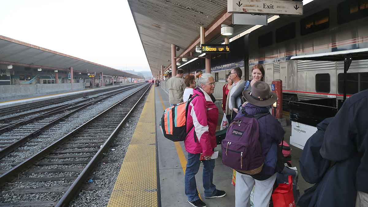 Los Angeles Union station, people on platform waiting for Amtrak's the Southwest Chief to come in for boarding