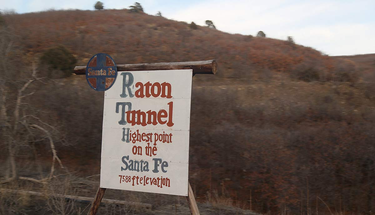 Raton Tunnel sign: Highest point on the Santa Fe railroad system: 7588 feet elevation