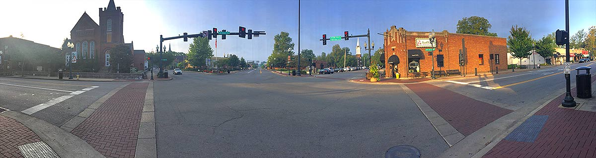 Panoramic view of 5 road intersection in Franklin, TN