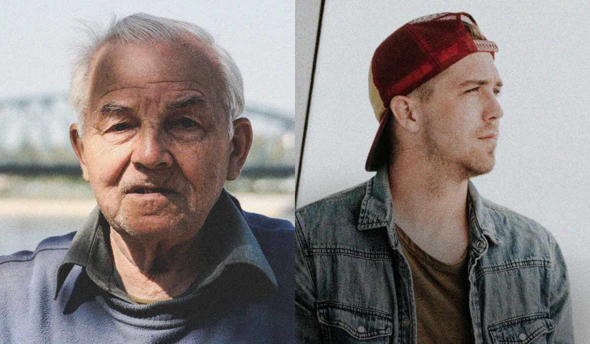 Old man and young man in split screen image
