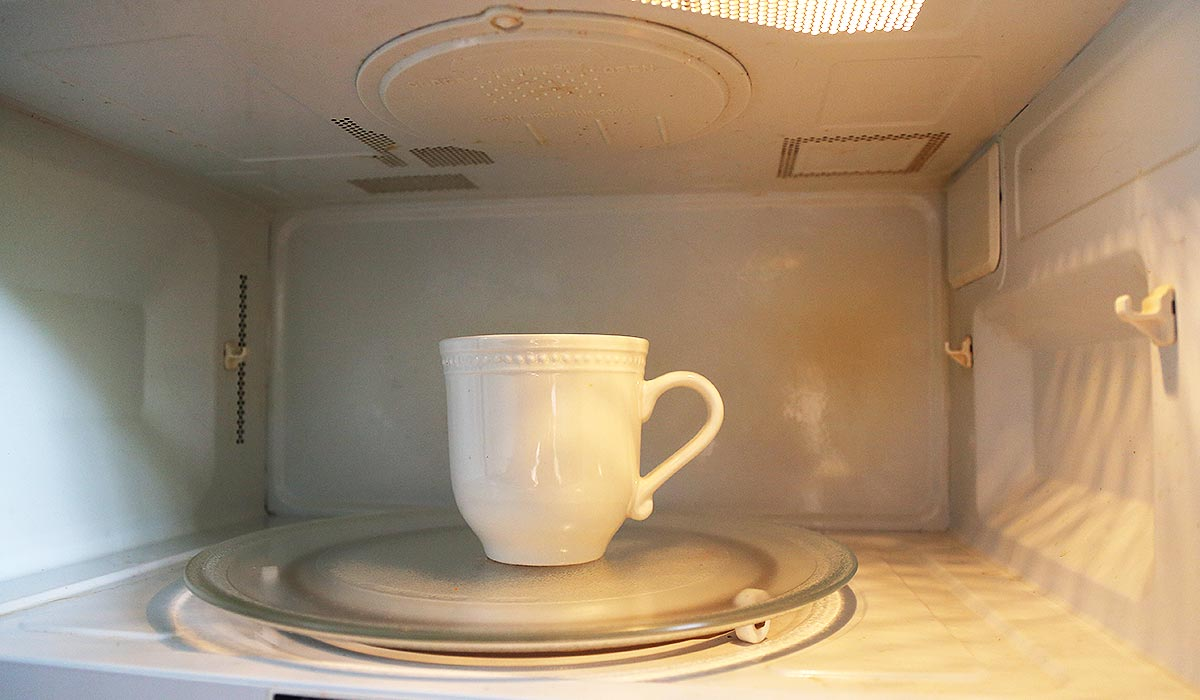 Cup inside microwave