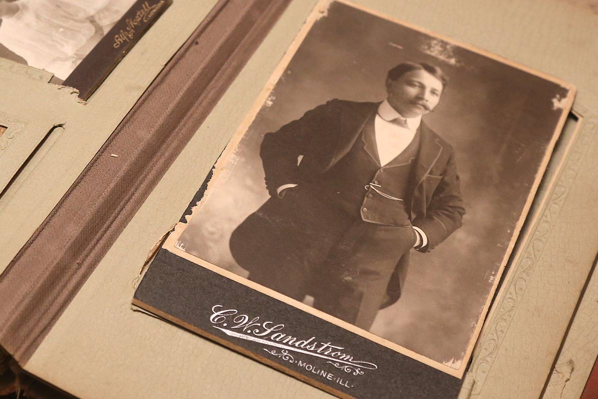 """Photo from circa 1900 of a man, with studio imprint """"Moline, Illinois"""""""