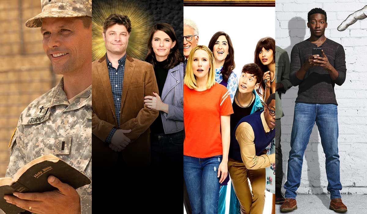 "Collage of pictures from ""Indivisible"", ""Living Biblically"", ""The Good Place"", ""God Friended Me"""