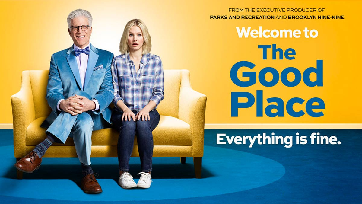 "Promo picture for ""The Good Place"" — Everything is fine — Michael and Eleanor on couch"