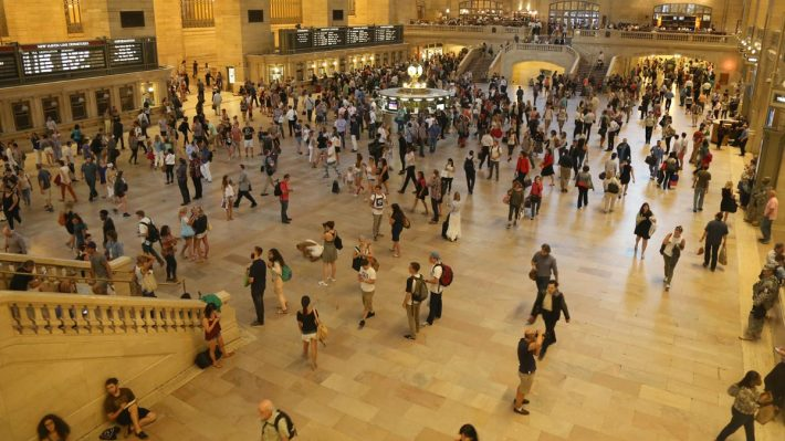 Grand Central Terminal main hall full of people coming and going
