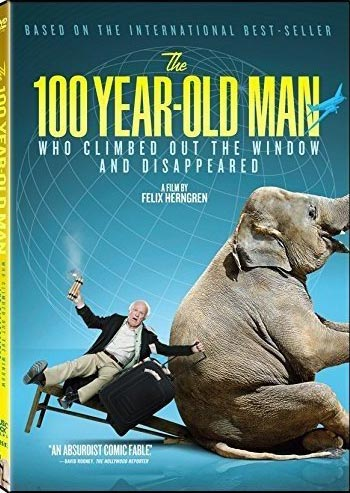 "DVD cover for ""The 100-Year-Old Man Who Climbed Out of the Window and Disappeared"""