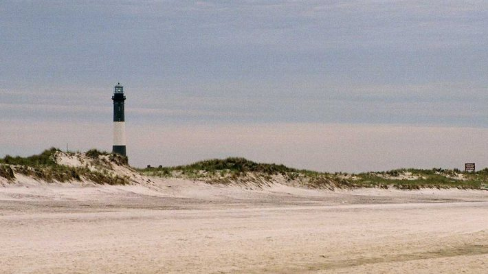 Fire Island, NY, beach and lighthouse