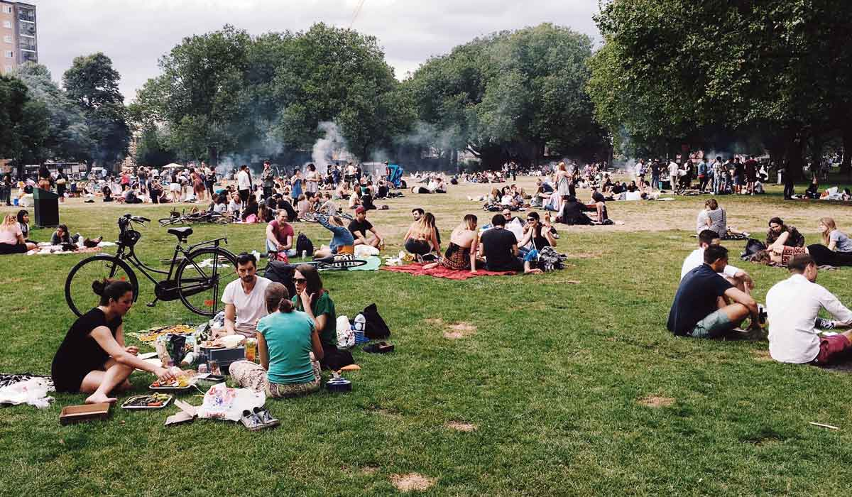 Groups of people sitting in park