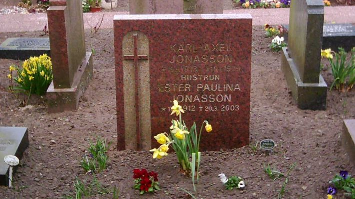 Grave site with headstone and flowers