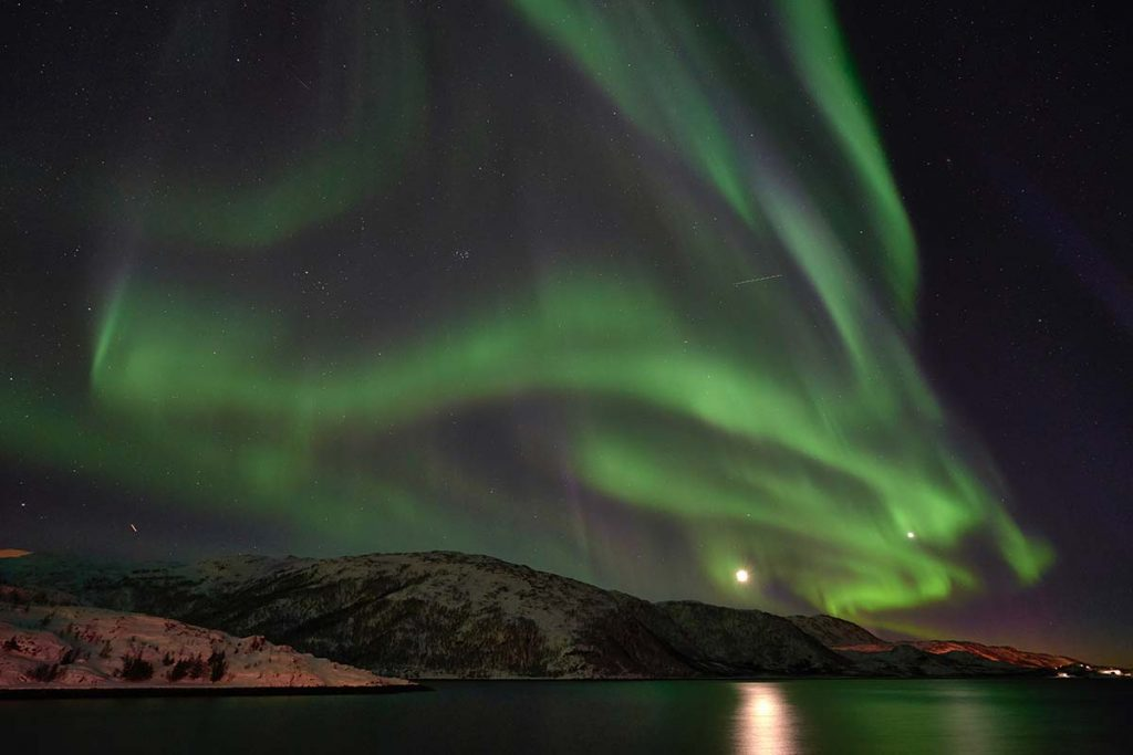 Aurora Borealis spread over night sky