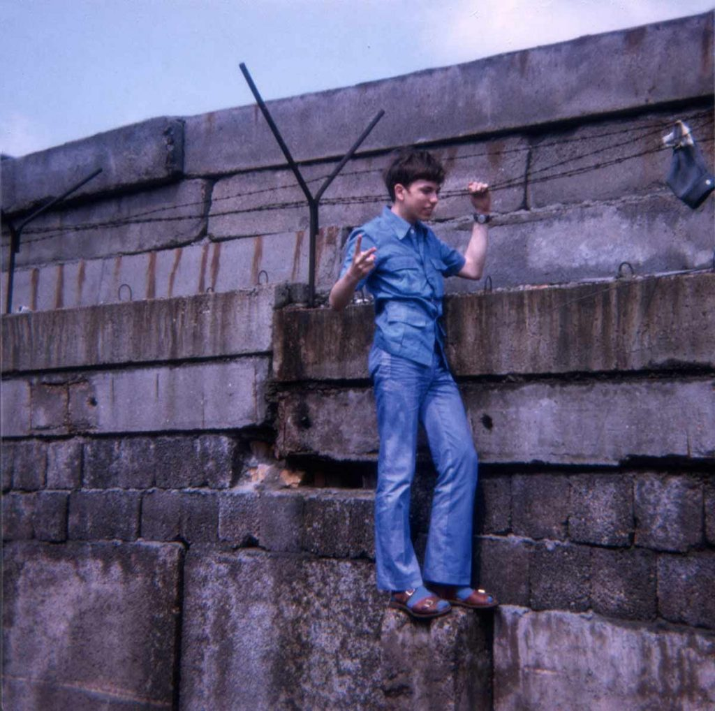 Claes climbed part way up on the Berlin Wall, May 1971