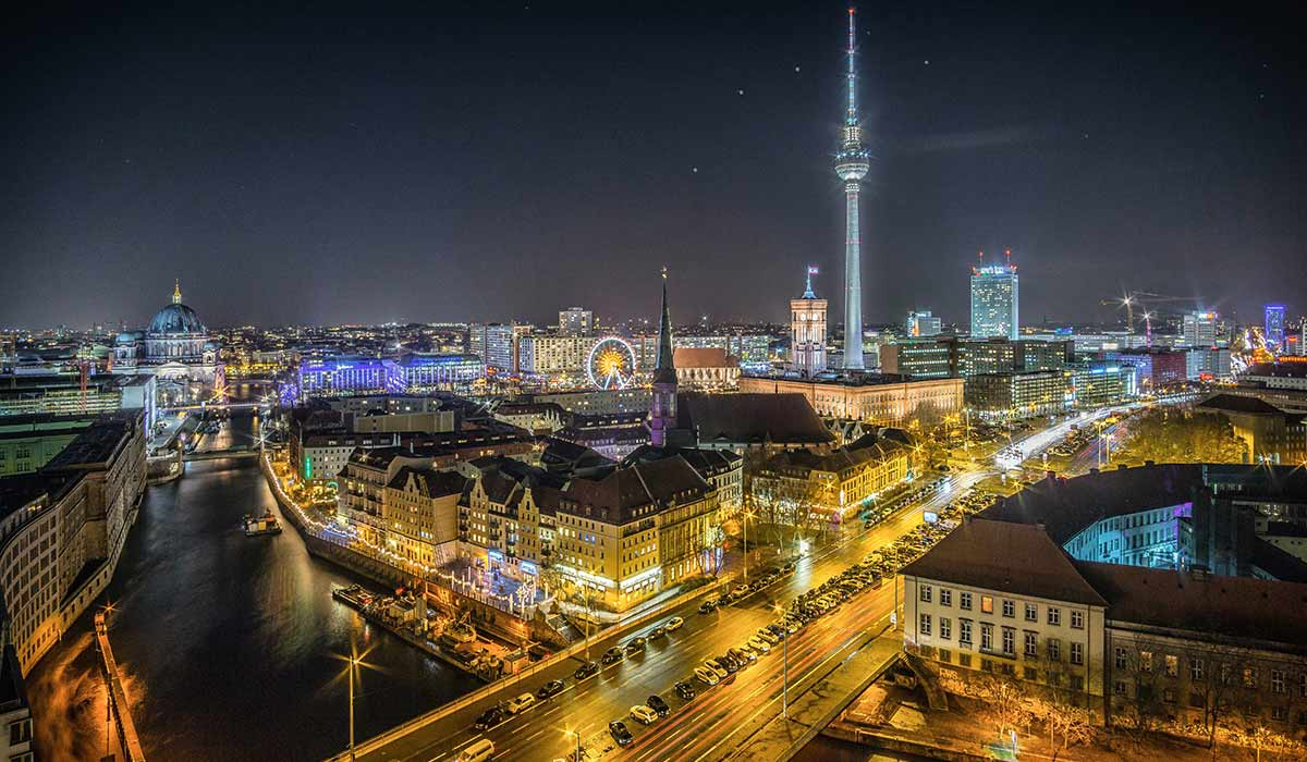 Nighttime view of Berlin's city center, including TV tower