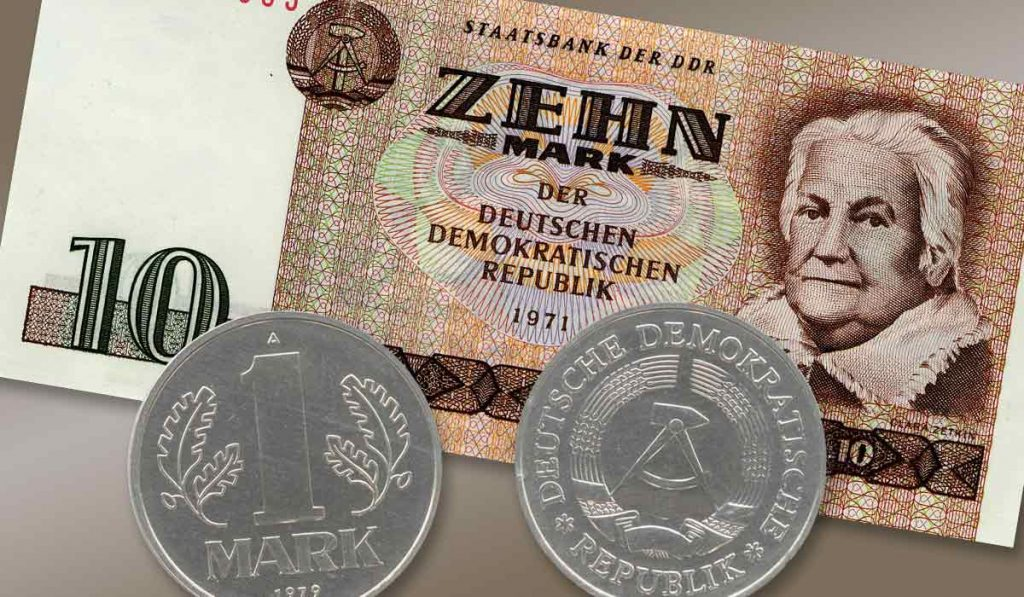 Coins and note from East Germany