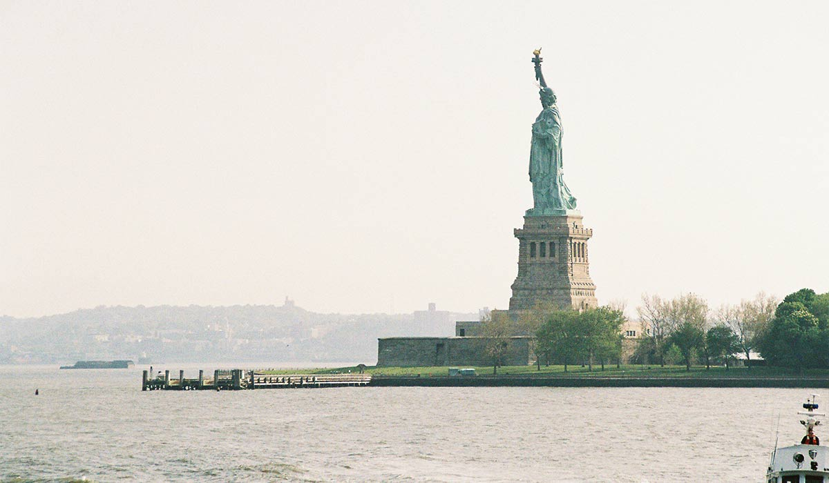 The Statue of Liberty, seen from Ellis Island