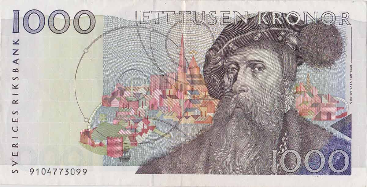 Swedish 1000 kronor note with sun dogs and Gustav Vasa