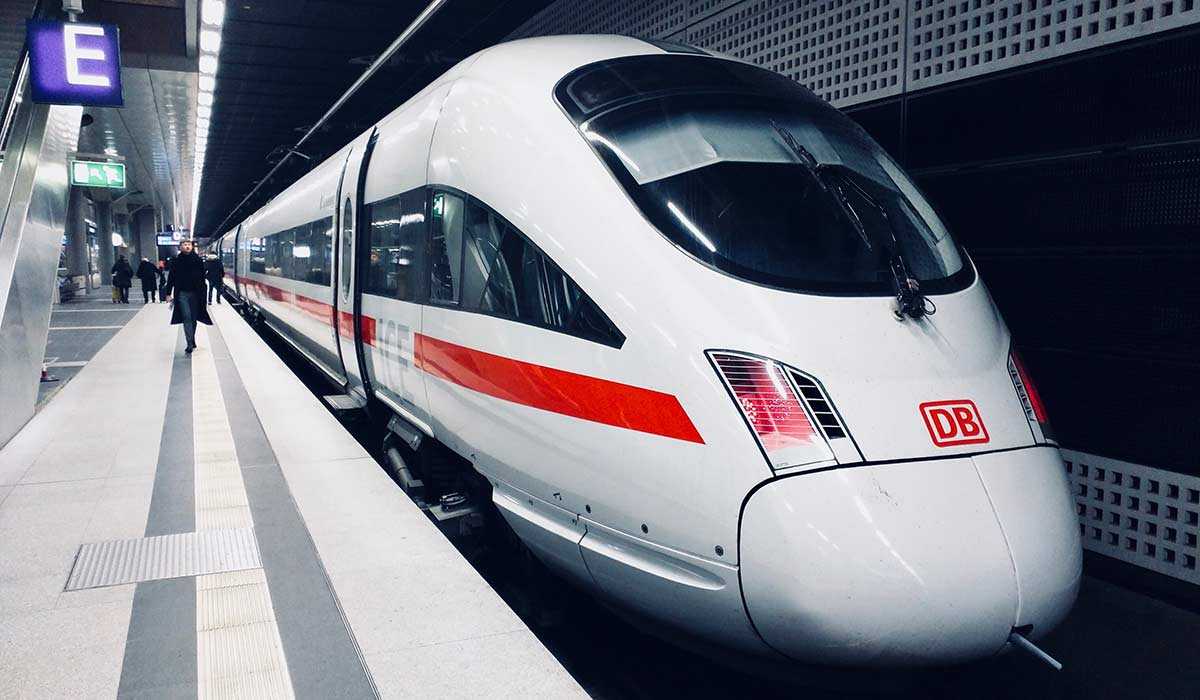 German high speed train at a platform