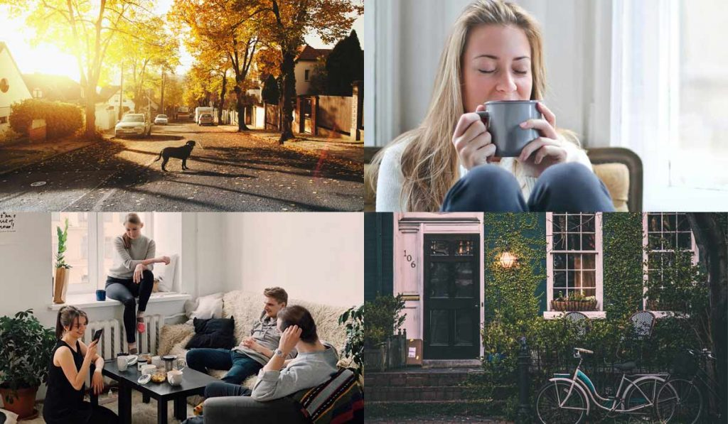4 images: residential street, woman with tea, friends in apartment, old house front