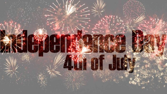Independence Day text over image of fireworks