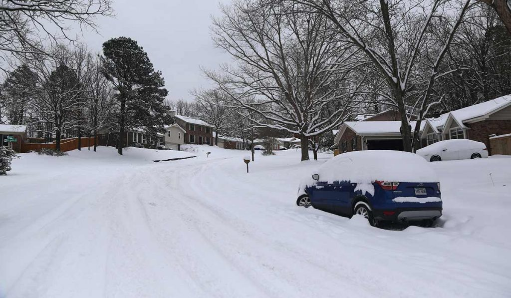 snow covered neighborhood in Arkansas