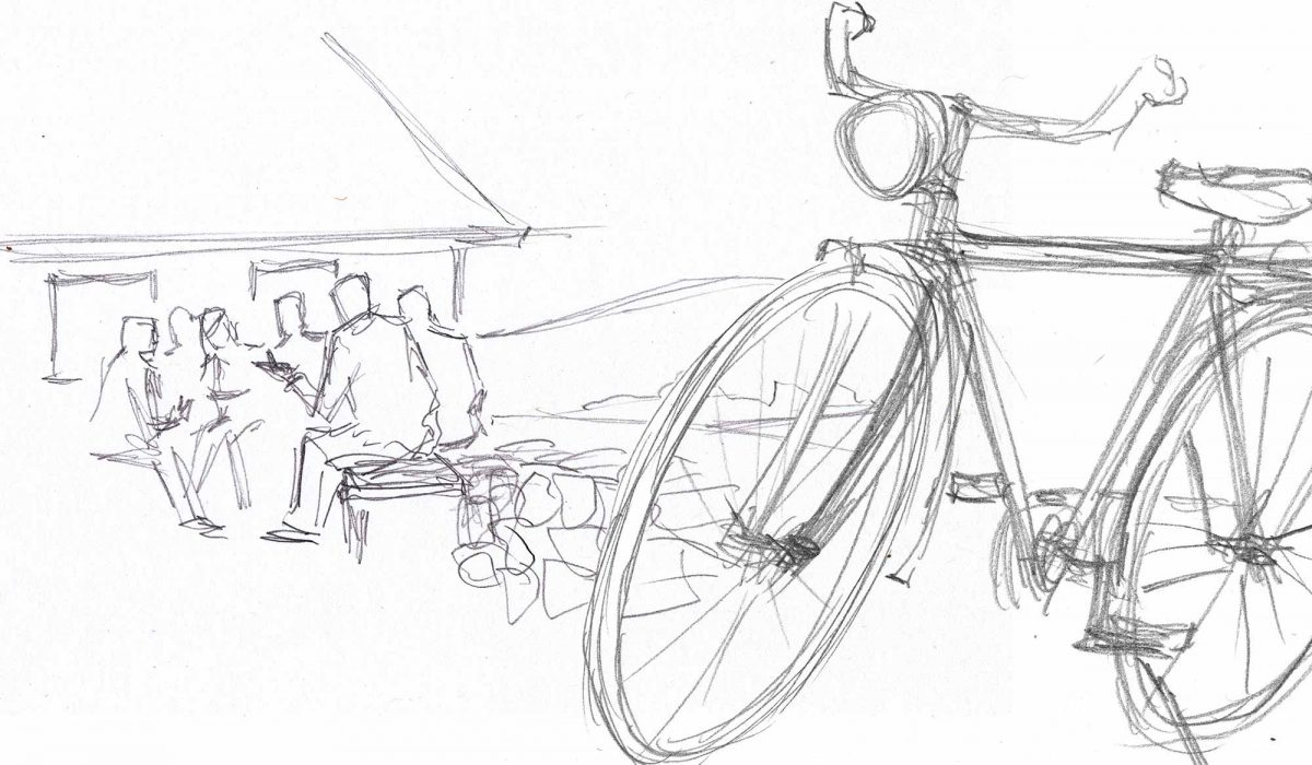 Drawing of the old man talking with young people, bicycle in foreground