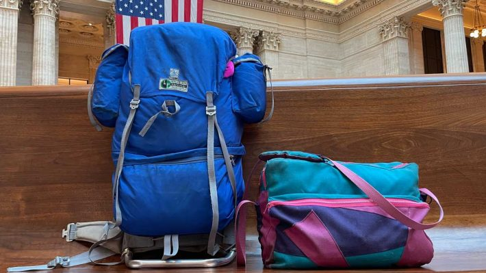 Backpack and camera bag at Union Station, Chicago