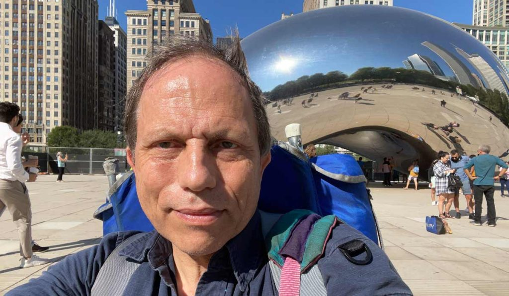 Me and the backpack exploring the Bean in Chicago